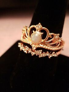US SELLER 2PC RING SET SIZE 10 ROSE GOLD FILLED W/ WHITE FIRE OPAL SIMULATED GEM