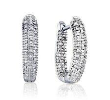 Diamond Hoops .925 Sterling Silver White Diamond Hoop Earrings .22ct Nice Size