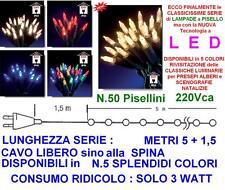 SERIE N.50 PISELLINI PISELLO a LED BLU' NATALE Mt.5 IP44 220/24V PRESEPE ALBERO