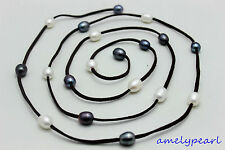 """Red Leather necklace black&white Freshwater pearl 48"""" 10x12mm No metal""""handmade"""""""