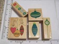 CHRISTMAS HANGING ORNAMENTS BORDER VINTAGE COLONIAL TYPE WM RUBBER STAMPS