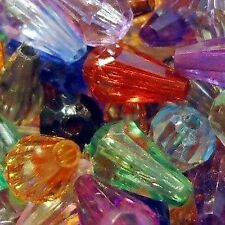 50g Acrylic Plastic Faceted Teardrop Beads - K5359 / 5x12mm