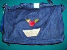 PURSE DENIM JEAN HEART WINGS HEARTS PURSES LADIES BLUE DENIM NEW SHOULDER STRAP