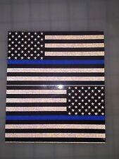 "5"" American Flag DARK Thin BLUE LINE 3M BK REFLECTIVE Stickers (x2) Decal Police"
