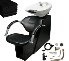 White Backwash Ceramic Shampoo Bowl Sink Chair Station Beauty Salon Equipment