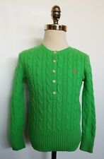 Ralph Lauren Girls Cable Sweater Pullover Neon Green Size S 7 NWT