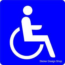 Rollstuhl Rollstuhlfahrer Behinderten Aufkleber Vinyl Stickers in Blau 8 cm