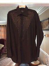 Exquisite Black Men's Long Sleeve Shirt with Satin Embellishments Size M NWOT