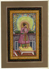 Portrait Of Emperor Shahjahan Mughal Painting, Miniature Art Of Gouache And Gold