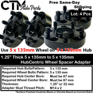 """4PC 1.25"""" THICK 5X135 87 HUBCENTRIC WHEEL SPACER  FIT F150 EXPEDITION NAVIGATOR"""