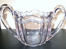 VINTAGE CLEAR DEPRESSION SCULPTED BEAUTIFUL SUGAR BOWL WITH SMALL SPOON