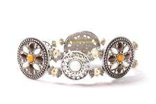 Oriental Style Ladies Circles Stretchy Bracelet with Orange & White Beads (S575)