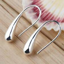 Teardrop Hook Stainless Steel Silver Hoop Earrings Lady Jewelry Gift Personality