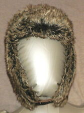 DOCKERS S/M Brown FAUX FUR Trapper Mad Bomber Aviator Winter Ear Flaps Hat EUC