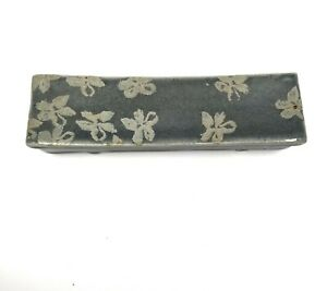 Ceramic Pottery Incense Holder Trinket Rectangular Long Box 9 inches Blue Gray