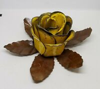 Vintage Tole Metal Cabbage Rose Yellow Flower Taper Candle Holder