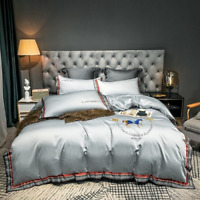 Luxury Cotton Satin Bedding Set Embroidered Silky Cover Duvet Cover Bed Sheet