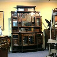 Edwardian Inlaid Rosewood 2 Part Cabinet