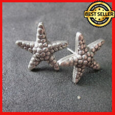 Fine Silver STUD Earrings Sterling 925 Rough Star Women Fashions Cafe Themes