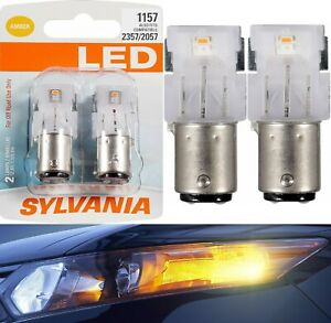 Sylvania Premium LED Light 1157 Amber Orange Two Bulbs Front Turn Signal Upgrade