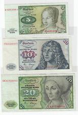 More details for bundesrepublik deutschland 1970-80 germany 5m, 10m & 20 mark  banknotes