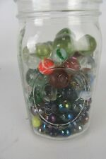 One Quart Jar Full of Antique & Contemporary & Vintage Marbles Mostly Glass #1