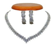CLUSTER V  CUBIC ZIRCONIA-EVENING-WEDDING EARRING NECKLACE TENNIS  SET