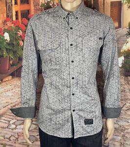 "Marc Ecko Size L/G Men's Shirt Button Down Gray Cut & Sew ""Stretch"" Long Sleeve"