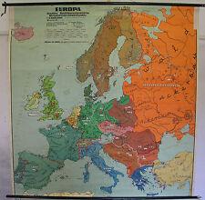 Schulwandkarte schöne alte Europakarte Staaten Wirtschaft 190x194c ~1955 vintage
