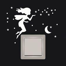 WD Wandtattoo Elfe Fee 96 teilig leuchtend fluoreszierend Sterne Mond Punkte