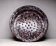 Antique Vintage Brown Enamel Graniteware Colander Strainer Enamelware