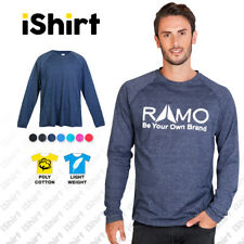 MENS ULTRA SOFT TEES T-SHIRTS POLY COTTON LONG SLEEVE TRAINING ACTIVEWEAR