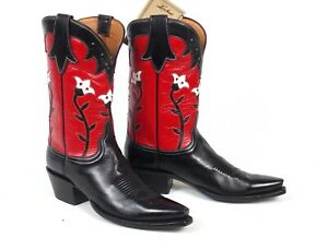 Lucchese Classics Black and Red Cowboy Boots - Wmen's 9.5B Floral Tulips Flowers