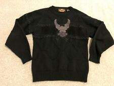 Harley Davidson Motorcycles Black Sweater Leather Eagle Embroidered Mens Small