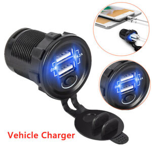 Vehicle Charger Car Charger Dual USB 12-24V Smart Power IC Touch Switch 2.1+2.1A