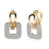 Gold Plated Square Hoop Huggie Clear CZ Earrings Ladies or Teens