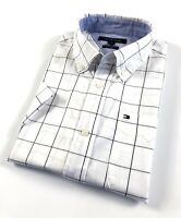 TOMMY HILFIGER Shirt Men's Short Sleeve Poplin Black Graph Check Classic Fit