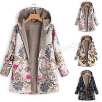 UK Womens Vintage Winter Hooded Casual Floral Coats Overcoats Jackets Parka