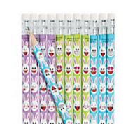 Pack of 12 - Easter Bunny Emoji Pencils - Party Loot Bag Fillers