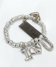 New Uno De 50 Silver Tone I Love You Charm Beaded Chain Bracelet