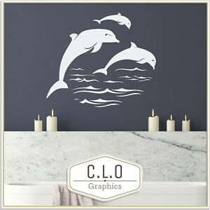 Dolphin Wall Sticker Huge Vinyl Transfer Interior Art Bathroom Decor Graphic x3