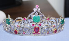 8.90cts ROSE CUT DIAMOND EMERALD RUBY ANTIQUE VICTORIAN LOOK 925 SILVER TIARA