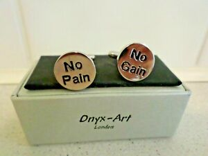 PAIR OF CUFF LINKS BY ONYX-ART LONDON (NO PAIN NO GAIN)