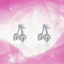 925 silver earrings simulated diamond cherry stud kids children's jewellery