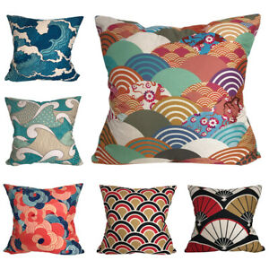 CURCYA Cushion Cover Japanese Sea Wave Fan Cloud Printed Decorative Pillow Cases