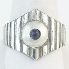 M/W Ring Sz 10.5 Genuine Sapphire Handmade Vintage Darkened 925 Sterling Silver