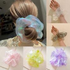 Women Shining Scrunchies  Hair Ties Hair Ring White Organza Hair Accessories New