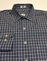 Peter Millar Men's -Size M- 100% Cotton Blue/Gray/White Plaid Long Sleeve Shirt