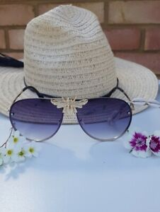 Large gold frame porche style bee sunglasses celebrity designer ibiza towie marb