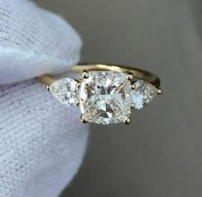 3ct Cushion Pear Diamond Accent Trilogy Engagement Ring 14ct Yellow Gold Over